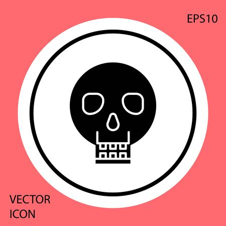 Black Skull icon isolated on red background. Happy Halloween party. White circle button. Vector Illustration Ilustracja