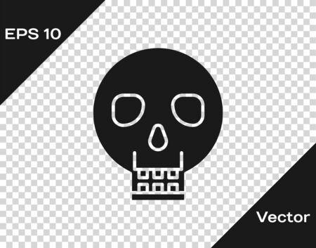 Grey Skull icon isolated on transparent background. Happy Halloween party. Vector Illustration Ilustracja