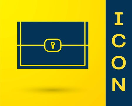 Blue Chest for game icon isolated on yellow background. Vector Illustration