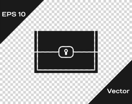 Grey Chest for game icon isolated on transparent background. Vector Illustration