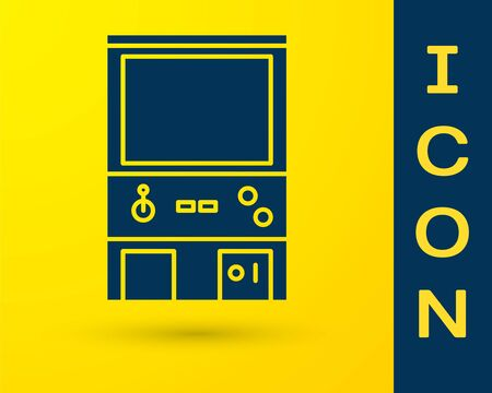 Blue Retro arcade game machine icon isolated on yellow background. Vector Illustration