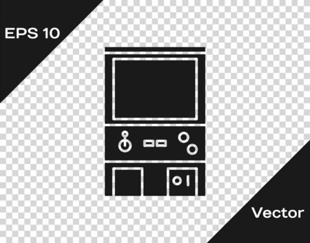 Grey Retro arcade game machine icon isolated on transparent background. Vector Illustration