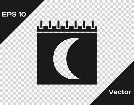 Grey Moon phases calendar icon isolated on transparent background. Vector Illustration