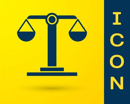 Blue Libra zodiac sign icon isolated on yellow background. Astrological horoscope collection. Vector Illustration