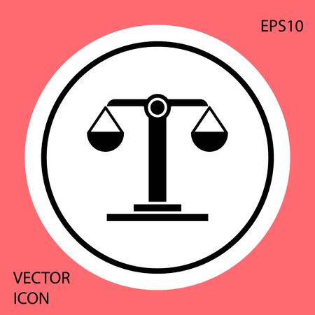 Black Libra zodiac sign icon isolated on red background. Astrological horoscope collection. White circle button. Vector Illustration