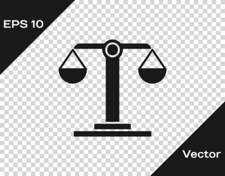 Grey Libra zodiac sign icon isolated on transparent background. Astrological horoscope collection. Vector Illustration Çizim