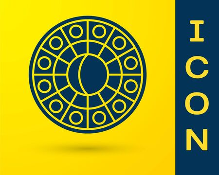 Blue Astrology horoscope circle with zodiac icon isolated on yellow background. Vector Illustration