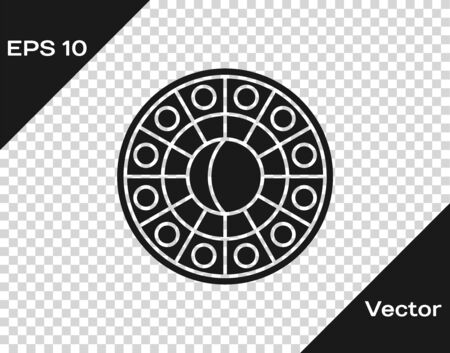 Grey Astrology horoscope circle with zodiac icon isolated on transparent background. Vector Illustration