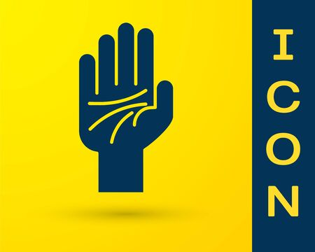 Blue Palmistry of the hand icon isolated on yellow background. Vector Illustration