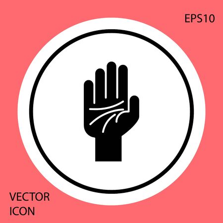 Black Palmistry of the hand icon isolated on red background. White circle button. Vector Illustration
