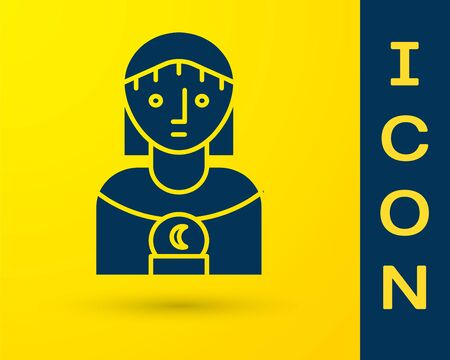 Blue Astrology woman icon isolated on yellow background. Vector Illustration