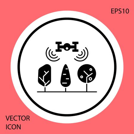 Black Smart farm with drone control and tree icon isolated on red background. Innovation technology for agricultural company. White circle button. Vector Illustration
