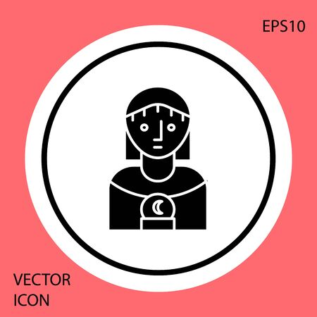 Black Astrology woman icon isolated on red background. White circle button. Vector Illustration