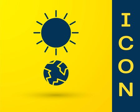 Blue Solstice icon isolated on yellow background. Vector Illustration