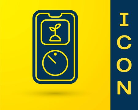 Blue Smart farming technology - timer farm automation system in app icon isolated on yellow background. Vector Illustration