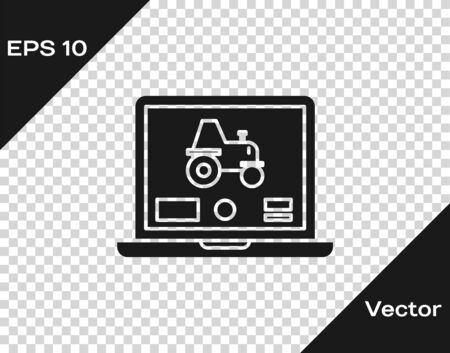 Grey Laptop application for control a autonomous tractor on a smart farm icon isolated on transparent background. Smart agriculture implement. Vector Illustration