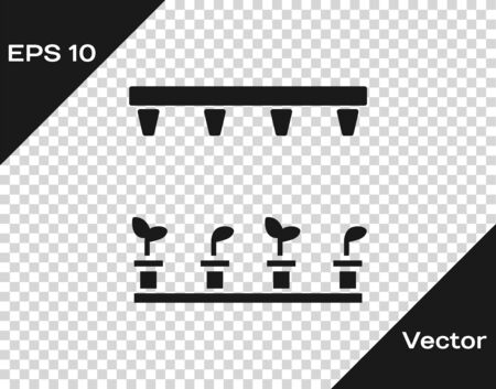 Grey Automatic irrigation sprinklers icon isolated on transparent background. Watering equipment. Garden element. Spray gun icon. Vector Illustration
