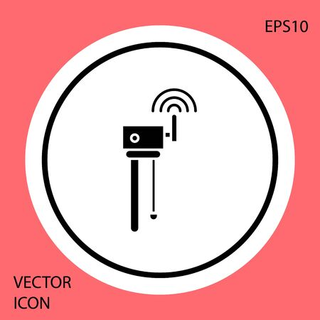 Black Router and wi-fi signal symbol icon isolated on red background. Wireless ethernet modem router. Computer technology internet. White circle button. Vector Illustration Illustration