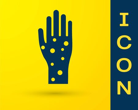 Blue Hand with psoriasis or eczema icon isolated on yellow background. Concept of human skin response to allergen or chronic body problem. Vector Illustration