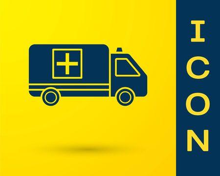 Blue Ambulance and emergency car icon isolated on yellow background. Ambulance vehicle medical evacuation. Vector Illustration