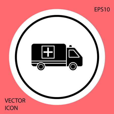 Black Ambulance and emergency car icon isolated on red background. Ambulance vehicle medical evacuation. White circle button. Vector Illustration Çizim