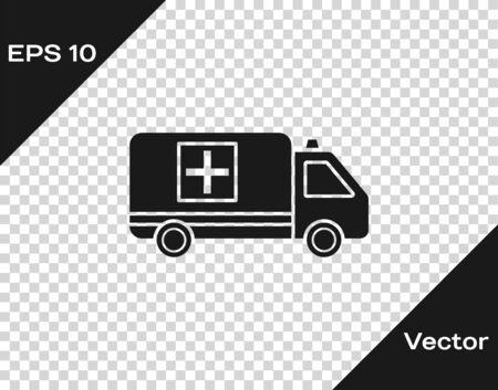 Grey Ambulance and emergency car icon isolated on transparent background. Ambulance vehicle medical evacuation. Vector Illustration Çizim