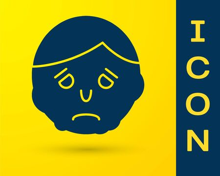 Blue Inflammation on face icon isolated on yellow background. Vector Illustration Illustration