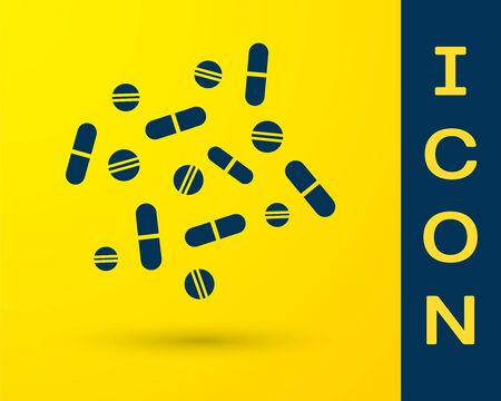 Blue Medicine pill or tablet icon isolated on yellow background. Capsule pill and drug sign. Pharmacy design. Vector Illustration Illustration