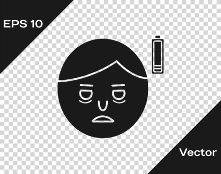 Grey Fatigue icon isolated on transparent background. No energy. Stress symptom. Negative space. Vector Illustration