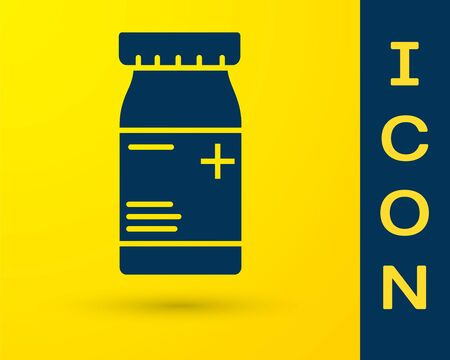 Blue Medicine bottle and pills icon isolated on yellow background. Bottle pill sign. Pharmacy design. Vector Illustration