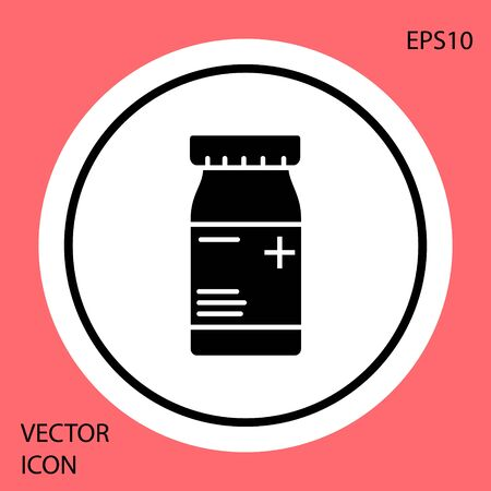 Black Medicine bottle and pills icon isolated on red background. Bottle pill sign. Pharmacy design. White circle button. Vector Illustration