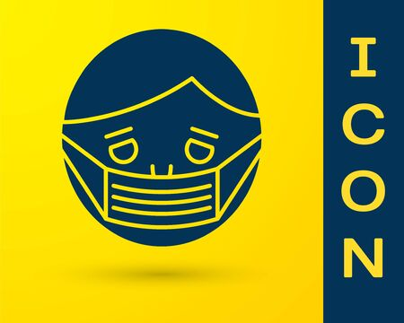 Blue Man face in a medical protective mask icon isolated on yellow background. Quarantine. Vector Illustration Illusztráció