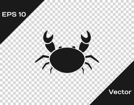 Grey Crab icon isolated on transparent background. Vector Illustration