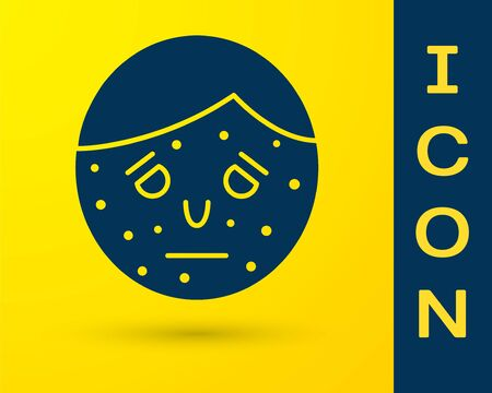 Blue Face with psoriasis or eczema icon isolated on yellow background. Concept of human skin response to allergen or chronic body problem. Vector Illustration Illustration