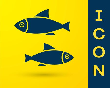 Blue Fish icon isolated on yellow background. Vector Illustration 向量圖像