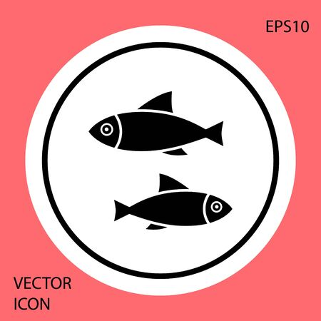 Black Fish icon isolated on red background. White circle button. Vector Illustration