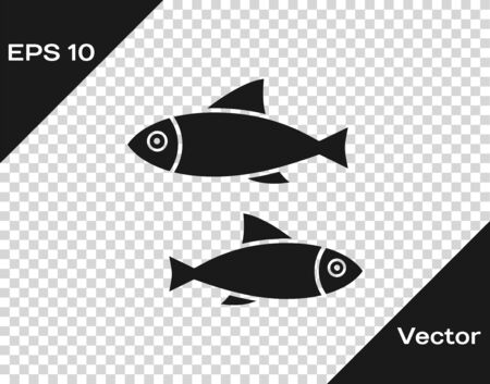 Grey Fish icon isolated on transparent background. Vector Illustration