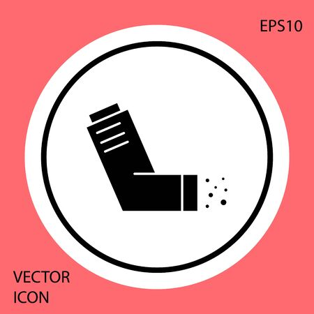 Black Inhaler icon isolated on red background. Breather for cough relief, inhalation, allergic patient. Medical allergy asthma inhaler spray. White circle button. Vector Illustration Vectores