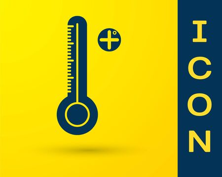 Blue Medical digital thermometer for medical examination icon isolated on yellow background. Vector Illustration Ilustrace