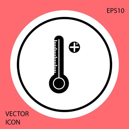 Black Medical digital thermometer for medical examination icon isolated on red background. White circle button. Vector Illustration