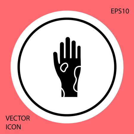 Black Hand with psoriasis or eczema icon isolated on red background. Concept of human skin response to allergen or chronic body problem. White circle button. Vector Illustration Illustration