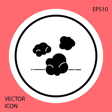 Black Dust icon isolated on red background. White circle button. Vector Illustration