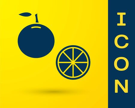 Blue Orange fruit icon isolated on yellow background. Vector Illustration Çizim