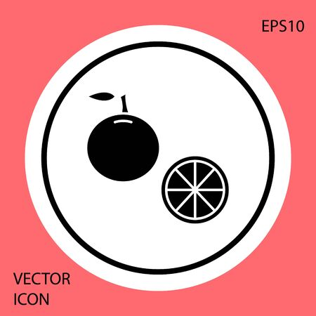 Black Orange fruit icon isolated on red background. White circle button. Vector Illustration Çizim