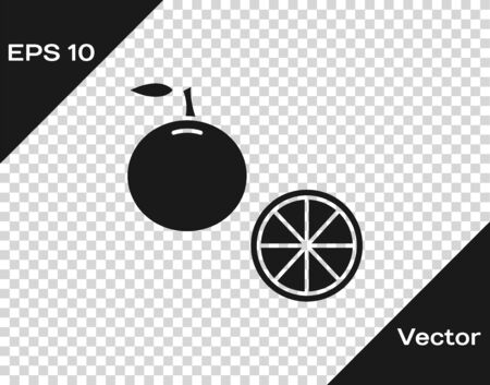 Grey Orange fruit icon isolated on transparent background. Vector Illustration Çizim