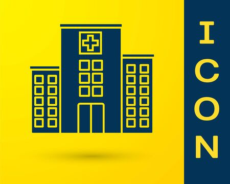 Blue Medical hospital building with cross icon isolated on yellow background. Medical center. Health care. Vector Illustration Çizim