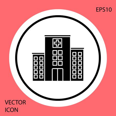 Black Medical hospital building with cross icon isolated on red background. Medical center. Health care. White circle button. Vector Illustration