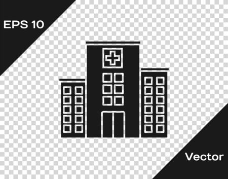 Grey Medical hospital building with cross icon isolated on transparent background. Medical center. Health care. Vector Illustration