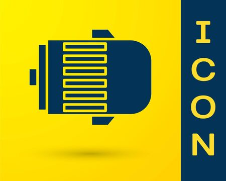 Blue Electric engine icon isolated on yellow background. Car alternator. Vector Illustration