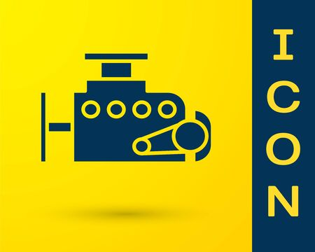 Blue Car engine icon isolated on yellow background. Vector Illustration Ilustração